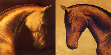 horse art painting cheval d'or