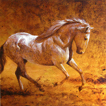 equine art – painting of a lusitano by horse painter Michael Hotz